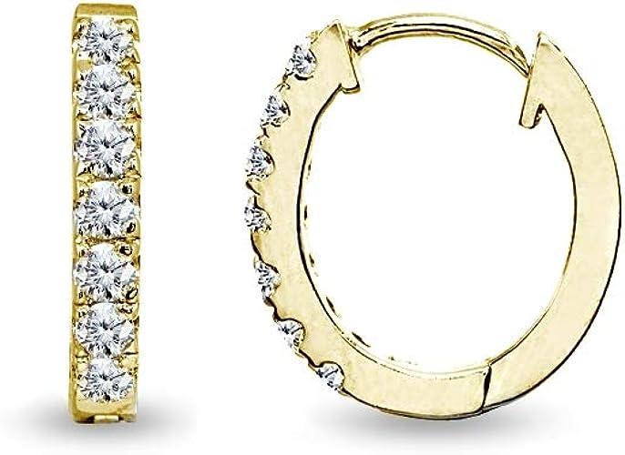 Sterling Silver Cubic Zirconia 15mm Huggie Hoop Earrings