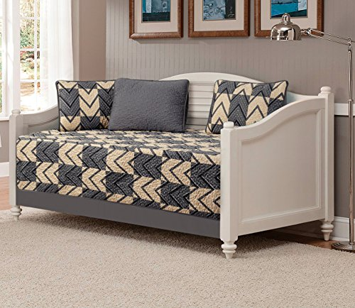 Mk Collection 5pc Daybed quilted Modern Taupe Dark Grey/Charcoal New #184 - Linen Set Daybed