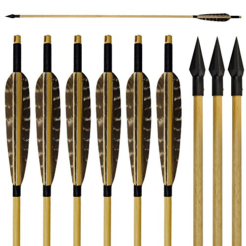 "Tongtu 33"" 6 Pcs Wooden Arrows Hunting Handmade Turkey Feathers Fletched with Broadheads for Recurve Traditional Bow or Longbow"