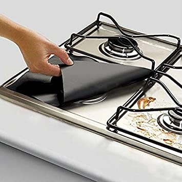 Nettoyage facile Taille M Silver R/éutilisables Carr/ées 4 rev/êtements de protection pour plaques de cuisson de cuisini/ère /à gaz