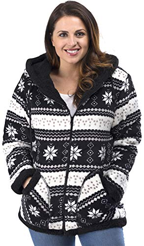 TrailCrest Ladies Smart Plush Sherpa Lined Hooded Sweater Jacket - Zip-Up Classic Pattern Black