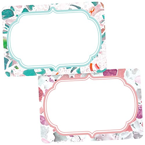 Avery Premium Floral Name Tags, Terrazzo, Teal and Rose, No Lift, 36 Handwriteable Name Stickers