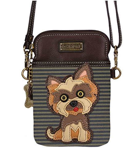 Brown Striped Handbag (Chala Crossbody Cell Phone Purse - Women PU Leather Multicolor Handbag with Adjustable Strap - Yorkshire - Brown Striped)