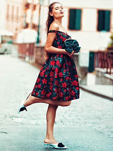 Bleu pour Ever avec V V col Cocktail B Femme Marine Pretty Courte EP05946 Floral Dos de Robe Profonde 77awHqf
