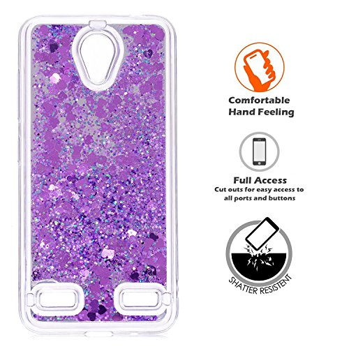 LIKESEA ZTE Blade A520 Case, Luxurious Quicksand Liquid Sparkling Flash Cute Transparent TPU Quicksand Protection Case for ZTE Blade A520 - Purple