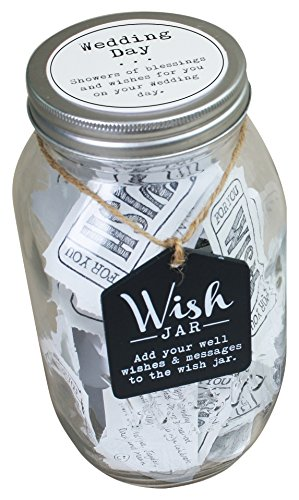 Wish Jar - TOP SHELF Wedding Wish Jar ; Unique and Thoughtful Gift Ideas for Newlyweds ; Novelty Gift for Bridal Shower, Engagement Party, and Wedding Reception ; Kit Comes with 100 Tickets and Decorative Lid