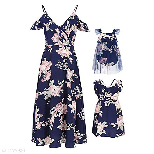 99ae03ac870d Mumetaz Mommy and Me Floral Print Cold Shoulder V-Neck Ruffle ...