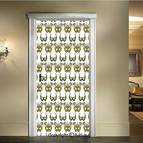 baihemiya 3D Door Mural Wallpaper Stickers,Festive-Pattern-with-Masks-Traditional-Carnival-Celebration-Costume-Decorative,W30.3xL78.7inch,Self-Adhesive Wall Door Stickers DecorPurple-Green-Yellow -