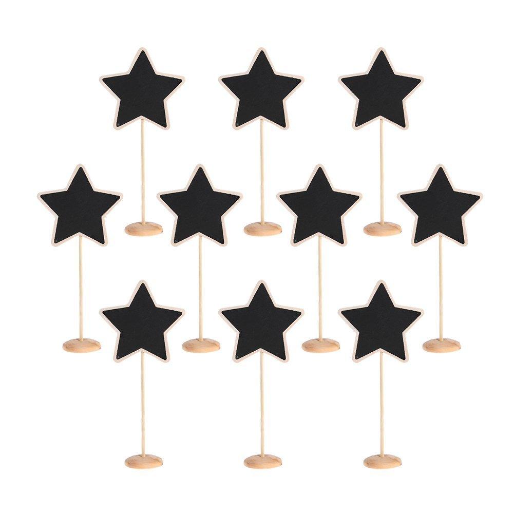 TRIXES 10 x Mini Pizarras en Forma de Estrella Base de Madera - Pizarras Pequeñas para Tableros de Mensajes PTY152