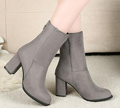 IDIFU Womens Retro Faux Suede High Chunky Heels Mid Calf Boots With Zipper Gray 2 dZjkOnc7