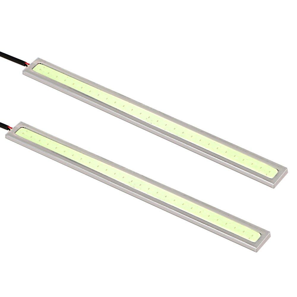 Itimo 2 pcs LED é tanche de voiture feux de jour Car-styling COB LED Voiture DRL Auto lumiè re du jour DC 12 V Lampe de brouillard Barre (Bleu)