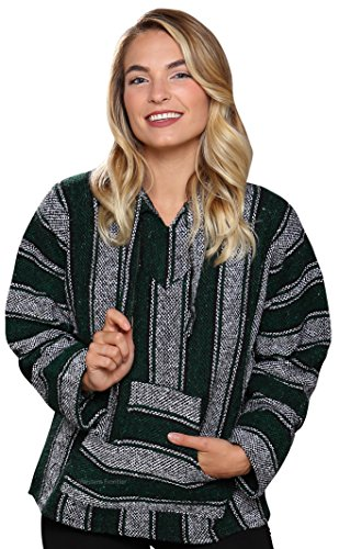 El Paso Designs Genuine Mexican Baja Hoodie Pullover Poncho- Brushed Inside For an Ultra Soft Feel- For Men & Women (Large, Dark Forest)