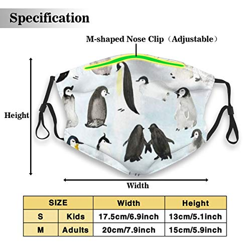 POSONINGS Penguin Group KN95 Mouth Mask,Free Two N95 Filter Elements Mask Personality Print Anti-Pollen Mask Anti-dust and Polyester Face Mask Face PM2.5