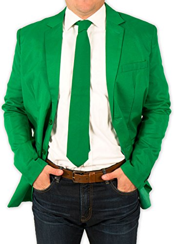 Festified Men's Classic Party Suit Coat and Tie in Green by (44) by Festified
