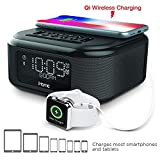 iHome iBTW23 Alarm Clock Bluetooth Stereo with Lightning iPhone Qi Wireless Charging Dock Station for iPhone Xs
