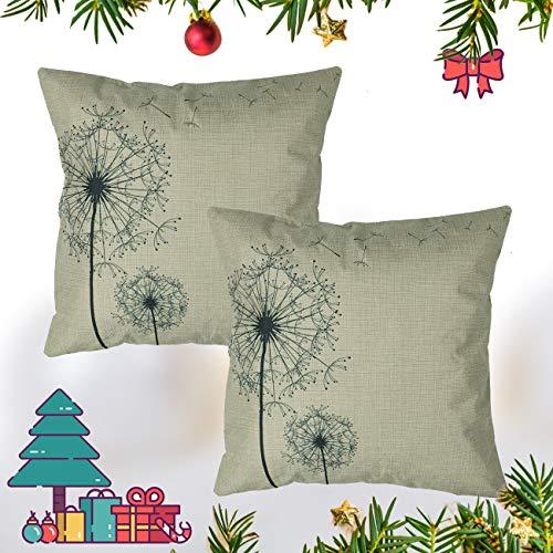 Luxbon Set 2Pcs Morden Stylish Simplicity Farmhouse Dandelion Floral Decor As You Wish Cotton Linen Throw Pillow Cases Sofa Couch Chair Decorative Cushion Covers 18x18/45x45cm Insert Not Included