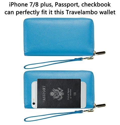 SimpacX Chelmon Womens RFID Blocking Wallet Genuine Leather Zip Around Clutch Large Travel Wallet Purse Passport Holder(sky blue)