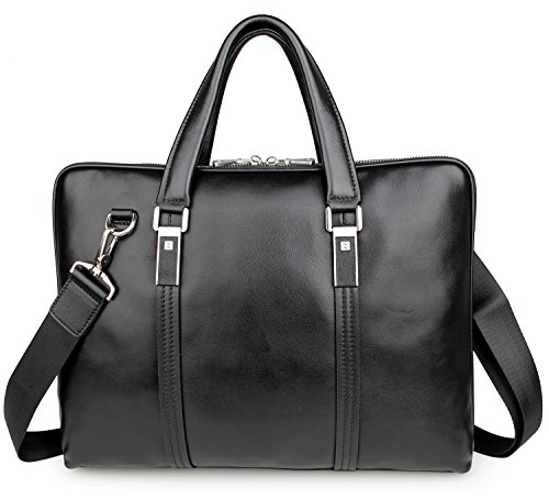 LXFF Men's Calfskin Leather Business Briefcase Bag 14 or 15 Inch Laptop Tote Bag Black by LXFF (Image #1)