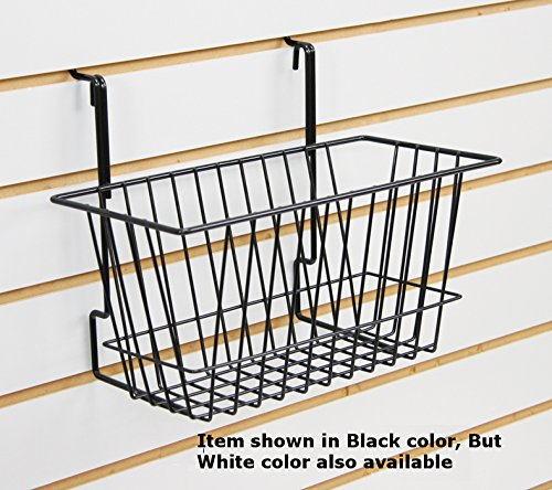 White Narrow Universal Basket for Pegboard, Slat/Grid Wall 12