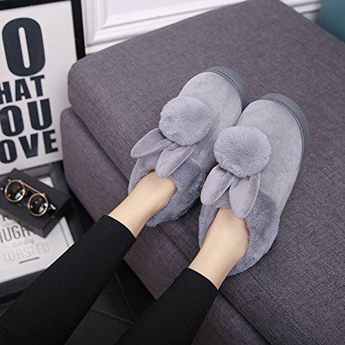 LaxBa Lhiver au chaud, lhiver Chaussons Chaussons moelleux Accueil chaleureux en hiver, chaussures antiglisse gris Bottines38-39 [37-38] Pour