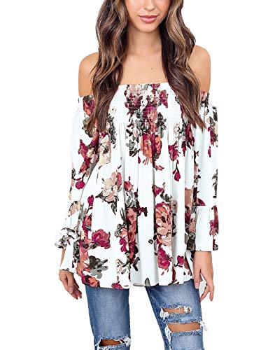 (Womens Floral Off Shoulder Blouse Casual Shirt Bell Sleeves Cute Crop Top (White, Large))