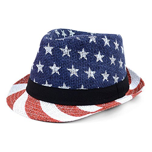 WESTEND Men's Spring/Summer USA and Stripes American Fedora Hat -