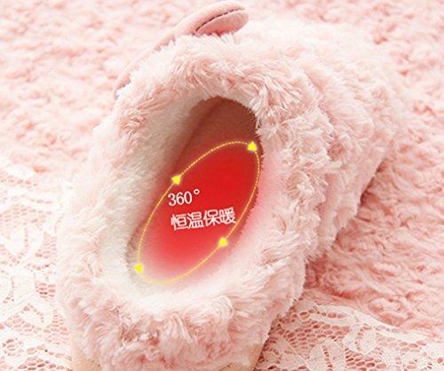 Pantofole Cravatta Da Donna Arco Caldo Fuzzy Pantofole Rosa