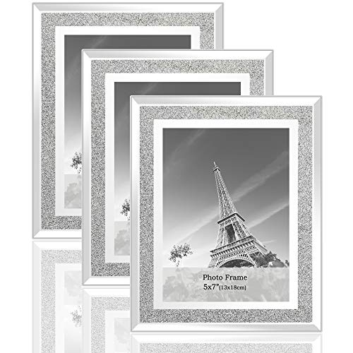 (meetart Sparkle Crystal Silver Glitter Mirror Glass Photo Frame for Photo Size 5x7 Pack of 3 Piece)
