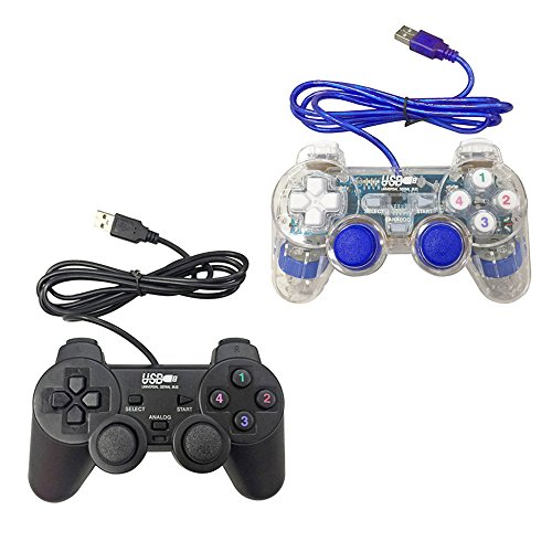Poulep USB Pc Computer Vibration Shock Wired Gamepad Game Controller Joystick Game Pad (Black and Clear Blue)