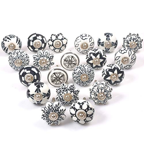 Zahra Premium Quality Assorted Ceramic Knobs- Multi Color Mix Designed Ceramic Cupboard Cabinet Door Knobs Drawer Pulls & Chrome Hardware (30, Black & White)