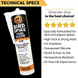 Defender Bird Spikes | Fixing Silicone Glue | 10 oz Caulking Tube
