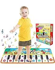 Renfox Musikmatte Tanzmatten Klaviermatte Kinder Piano Matte mit 8 Tier Sounds Piano Spielteppich Teppich Pianomatte Keyboard Matten 135.3 * 60cm