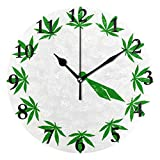 NMCEO Wall Clock Green Marijuana Leaf Round Hanging Clock Acrylic Battery Operated Wall Clocks for Home Decor Creative