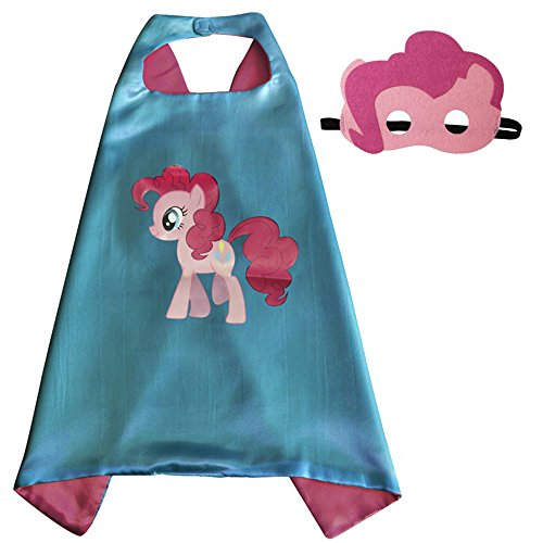 Pinkie Pie Costume Superhero Capes with Masks for Kids, Girls My Little Pony Birthday Party Favors, Dress Up & More