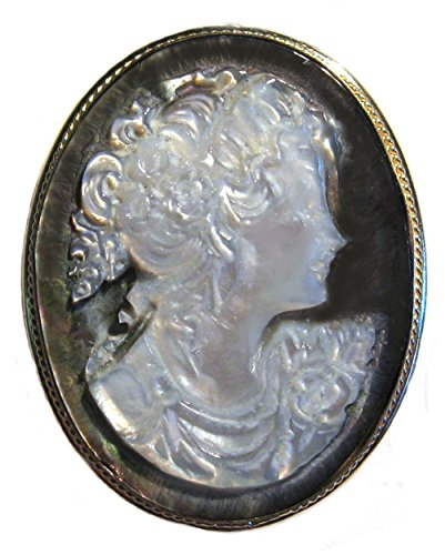 Brooch 18k Cameo (Cameo Brooch Pendant Enhancer Italian Sterling Silver 18k Gold Overlay Master Carved Mother of Pearl)