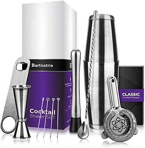 Mixology Bartender Kit Boston Cocktail Shaker Set 11-Piece 18oz 28oz Shaker Tins, Double Jigger, Muddler, Hawthorne Strainer, Bar Mixing Spoon, Bottle Opener, Cocktail Picks, Recipes Booklet