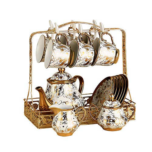 HAYC 15 pieces of European ceramic coffee cup set, bone china tea set, retro cup and saucer household water cup with metal bracket, ceramic tea set, best gift (Gold) ()