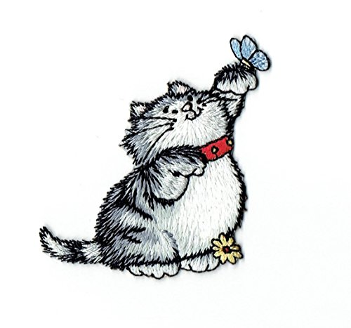 Gray Cat with Blue Butterfly on Paw Iron on Embroidered Patch ()