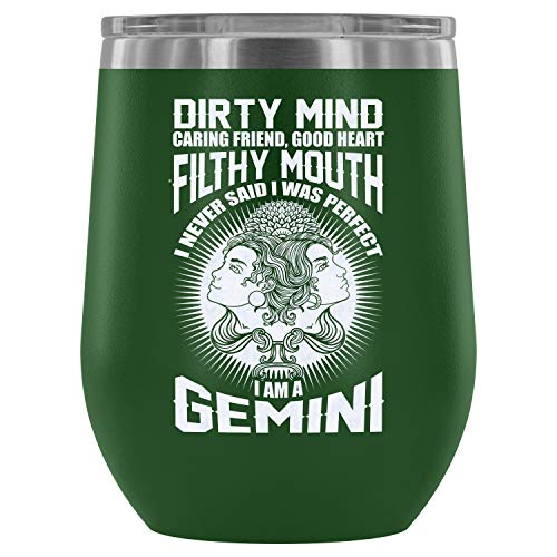 Stainless Steel Tumbler Cup with Lids for Wine, I Am A Gemini Wine Tumbler, Cool Gemini Vacuum Insulated Wine Tumbler (Wine Tumbler 12Oz - Green)