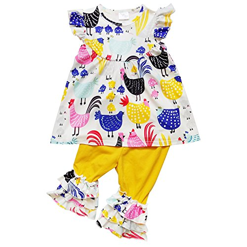So Sydney Girls Toddler 2-4 Pc Novelty Spring Summer Top Capri Set Accessories (XL (6), Chicken) from So Sydney