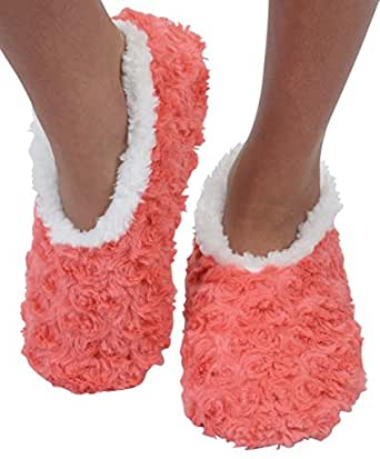 Snoozies Womens Bed Of Roses Cozy Sherpa Fleece Non Skid Slipper Socks - Apricot Coral, X-Large