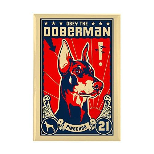 """CafePress Obey The Doberman! Patriotism Magnet Rectangle Magnet, 2""""x3"""" Refrigerator Magnet"""
