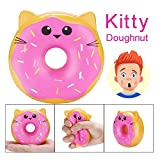 Drfoytg 10cm Stress Reliever Toys Cute Squishys Toy Doughnut Decompression Slow Rising Squeezing Cream Scented Animals (Pink)