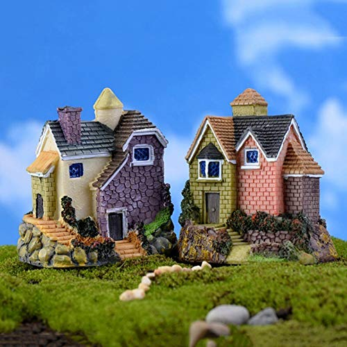 longdelaY6 Garden Statue Outdoor, Fairy Garden Miniature Resin Thatched House Micro Landscape Ornament Decoration - Random Style