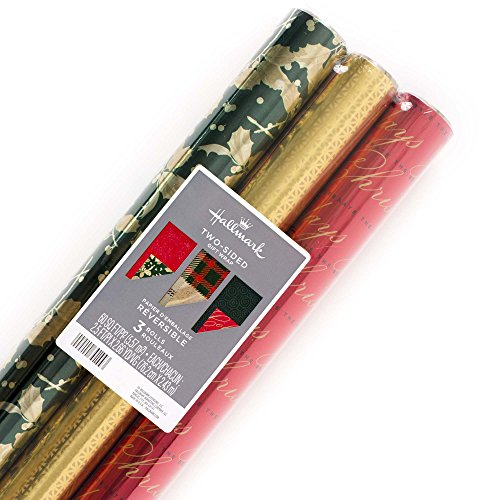 (Hallmark Christmas Reversible Wrapping Paper, Traditional Foil (Pack of 3, 60 sq. ft. ttl.))