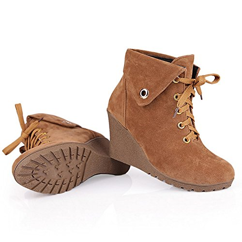Shoes Boots Lace Brown Heel Women up TAOFFEN Wedges High Short Retro zxqAxTfwF