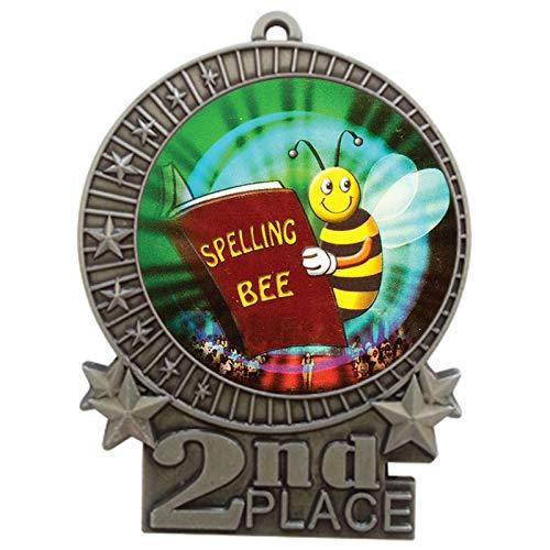 エクスプレスメダル 3インチ スペルビー 2位メダル シルバー 赤 白 青 ネックリボン 賞 トロフィー XMDMY4 B07G7PMMZJ  5