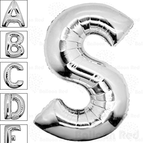40 Inch Giant Jumbo Helium Foil Mylar Balloons (Premium Quality), Glossy Silver, Letter S -