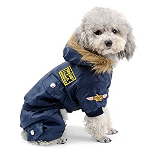 SELMAI Waterproof Fleece Lined Dog Coat Airman Hooded Jumpsuit Snow Jacket Winter Dog Clothes for Chihuahuas Blue S