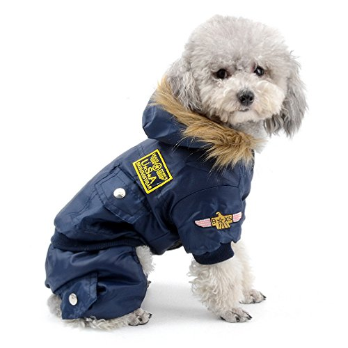 Hooded Dog Jumpsuit - SELMAI Waterproof Fleece Lined Dog Winter Coat Snow Suit Airman Hooded Jumpsuit Snowsuits for Small Dog Puppy Chihuahua Blue L